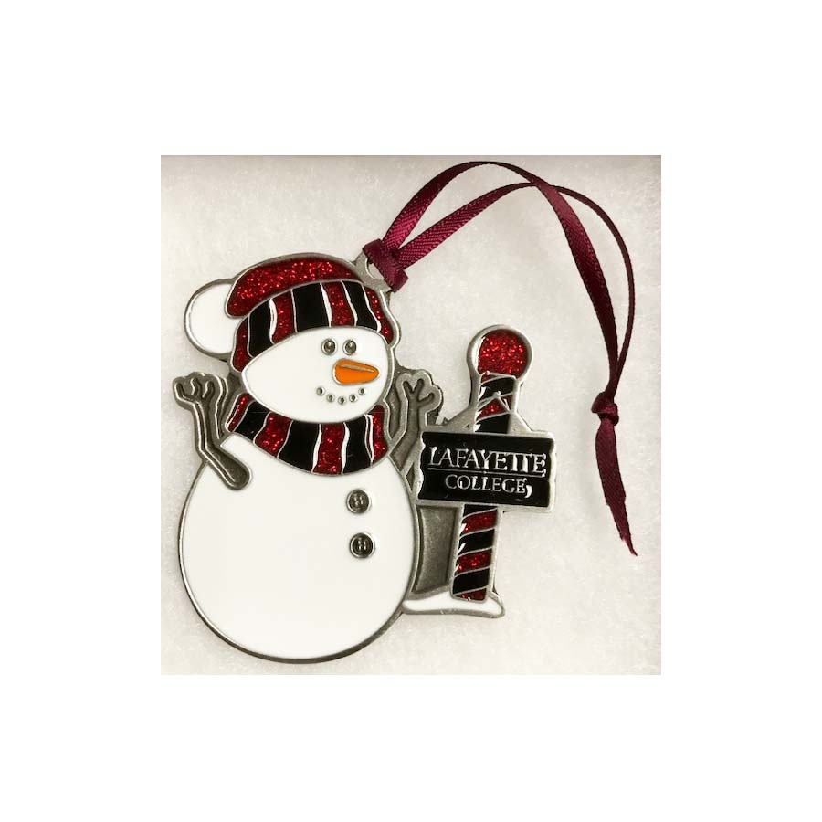 Image For PEWTER SNOWMAN ORNAMENT